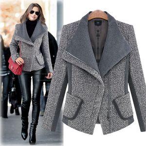 Nouveau manteaux d'automne femme sont veste en laine mince à manches longues manteau court d'hiver de mode casacos revers femme garder au chaud manteaux de laine des femmes