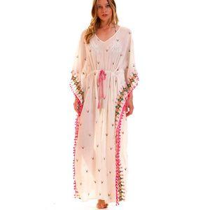 Vestito estivo Bohemia Donna Multicolor Kaftano ricamato boho chic mezzo Abito elegante tunica spiaggia con scollo a V Vest sexy 2019 Abbigliamento