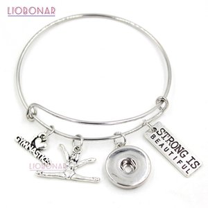 Venta al por mayor Snap Jewelry I love Gymnastics Bracelet Gymnast Charm Bangle Sport Bracelet Gifts Jewelry Pulsera ajustable del botón a presión
