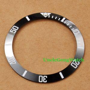 Vente en gros-Pièces de montres, Corgeut 38mm Lunette Ceramical Noir Fit pour 40mm SUB Automatic Montres, pièce d'horlogerie Insérer pour BRICOLAGE horloges BASUB38BK