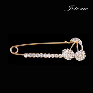 100 Unids / lote Crystal Cherry Broche Con Elegante Diseño Jewlery Mujeres Suéter Broche hijab broche pines solapa pines