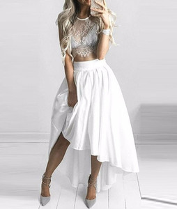 2017 Date D'été Deux Pièces Sheer High High Low Robes De Bal Jewel A-Line Blanc-Dentelle Caché-Manches Zipper Robes De Soirée Custom Made