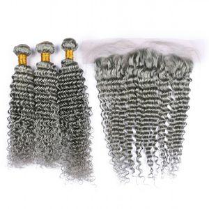 딥 웨이브 버진 인디언 은색 회색 인간의 머리카락 귀에 귀 13x4 레이스 정면 폐쇄 3Bundles 순수한 회색 색상 인간의 머리를 짜다