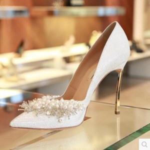 2017 frauen perlen high heels strass pumps hochzeit schuhe damen zeigen zehen pumps dünne ferse gladiator sandalen diamant party schuh