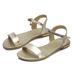 Büyük Boy Kadın Inek Deri Sandalet Ayakkabı Yaz Sandalet Kadınlar zapato mujer sandalias mujer schoenen vrouw D203-6-40