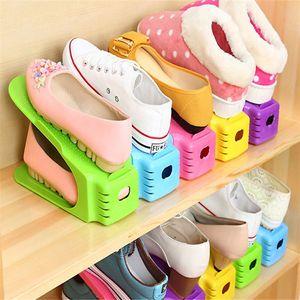 플라스틱 신발 랙 더블 레이어 통합 된 구두 홀더 선반 현대 스타일 구두 스토리지 랙 25cm 길이 8 색