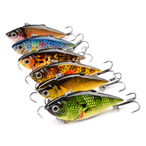Fly Fishing VIB crankbait Boyalı gerçekçi Balık 3D Gözler 6.5 cm 8.5g Balık desen temizle Döküm Lazer Yapay cazibesi