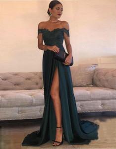 2017 сексуальные платья выпускного вечера линия шифон Off-The-плечо длиной до пола высокая сторона Сплит кружева элегантный длинное вечернее платье вечернее платье