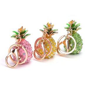 Pineapple Bling Crystal Rhinestone Keychain Phone Charms Key Chain Handbag Pendant Metal Keyring Gift