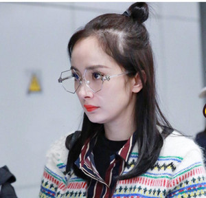 2017 marca percy lau estilo designer de óculos de armação de óculos armações de pérolas octagon planície lentes óculos com caixa para as mulheres