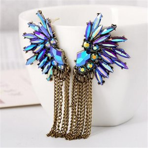 Engels-Flügel-Feder-Form Lila Kristall Ohrringe Design Mode für Frauen Ketten Statement Troddel-Ohrringe Mädchen Weihnachtsgeschenk
