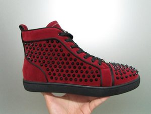 Designer LuxuxMens High Top-Wein-Rot Schuhe Frauen Burgunder Veloursleder mit schwarzem Spitzen-Turnschuhe für Verkauf