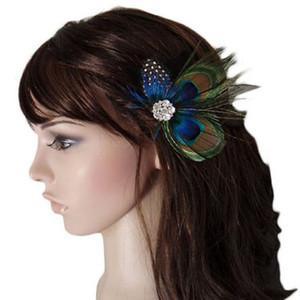 Retro Tiara Noiva Taç Takı Tiara Yeni Rhinestones Peacock Feather Gelin Düğün Saç Klip Pin Kafa Firkete Güneşli