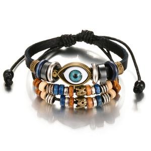 New Arrival Cross Charm Braided blue eye Men women Bracelet Jewelry Hand Woven PU Leather Bracelets Bangles Black Wristband