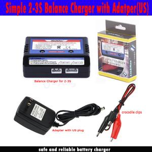 Li-ion Li-Pottery RC Bateria 7.4 v 11.1 v Balance Charger LiPo 2s 3s Bateria Simples 2-3s Balance Charger + Adaptador de carregamento Plug EUA