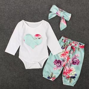 3 PCS Conjunto Bebés Roupas Romper Primavera Outono Crianças Coração Bordado Encabeça + Floral Pant Outfits Crianças Menina Roupas Set Retail