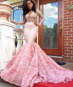 Hermosos vestidos de baile rosa sirena de manga larga ver a través de escote Flor brillante cristalina africana último vestido de noche 2017