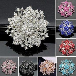 Lüks Tam Rehinestone Broş Kristal Redbud Bauhinia Çiçek Broş Pins Erkekler Kadınlar için Gelin Korsaj Buket Pin Düğün Parti Takı