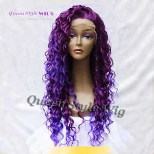 Estilo Queen pelo rizado largo púrpura raíz luz púrpura Ombre peluca 3700 / 3700L medio mano atada a prueba de calor sintético peluca frente del cordón