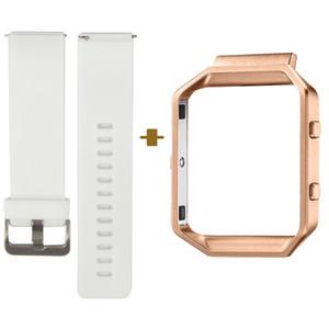 빠른 출시 Fitbit Blaze 용 스마트 시계 밴드, 클래식 한 브레이슬릿 스트랩, 작고 큰 사이즈, 화이트, 로즈 골드 프레임