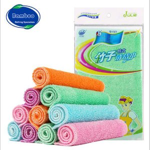 Top Quality Bamboo Fiber Cleaning Cloth Bamboo Clean Towel Dishcloth Efficient ANTI-GREASY Magic Wash Cloth Kitchen Scouring Pad