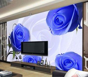Пользовательский любого размера Blue Rose Flower 3D Stereo обои обои ТВ стена для стен 3 d для гостиной