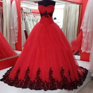 Sweetheart apliques rojos y negros vestido de fiesta vestido de novia de encaje princesa tul vestidos de novia por encargo drapeado imagen real colorido