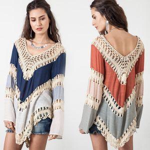 2017 Donna Sexy Summer Bohemia Beach dress Deep V Neck Crochet Dress Manica lunga Scava Fuori Swimwear Bikini Cover Up Lace Crochet Shirt