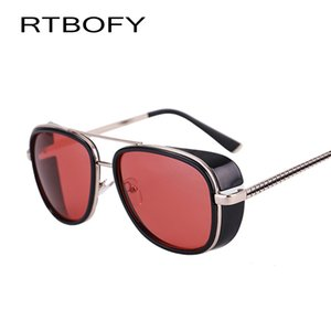 Оптово RTBOFY IRON MAN 3 Мацуда TONY Steampunk Солнцезащитные очки Мужчины Зеркальный Lasses Vintage Sun glasses.618