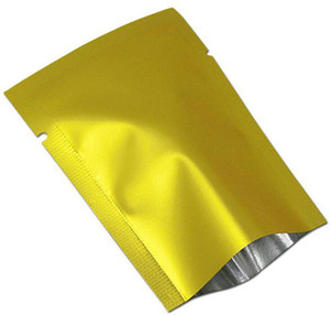 100Pcs  Lot Golden Matte Heat Seal Aluminum Foil Tea Nut Candy Vacuum Bag Pouch Open Top Mylar For Party Package Pocket Free shipping