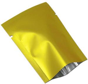 100 Teile / los Goldene Matte Heißsiegel Aluminiumfolie Tee Nuss Candy Vakuumbeutel Beutel Open Top Mylar Für Party Paket Tasche Freies verschiffen