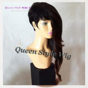 Новая знаменитость Рианна асимметричная прическа парик синтетический короткий черный коричневый цвет афроамериканская партия парики для черной женщины
