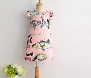 Ärmelloses Kleinkind Kinder Mädchen Fisch Blumen Sommer Kleid Pfingstrose A-Linie Sommerkleid Kleidung Lässige Party Kleider Rosa Pricess Kleidung 1-8Y