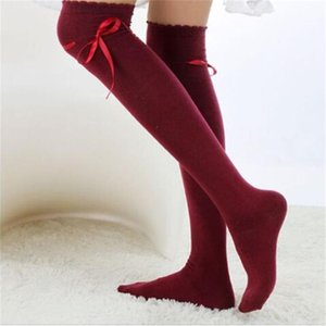 Wholesale- Feitong Autumn Womens Over the Knee Socks Fashion Girls Sexy Cotton Bow Tie High Socks Thigh High Hosiery Stockings Wholesale