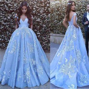 Al largo della spalla blu promenade blu sexy del merletto di Applique gli abiti di sfera Real abito da sera vestidos de formatura longo