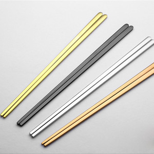 Wholesale- 1 Pair High Quality 304 Stainless Steel Titanium Plating Gold Solid Flat Chopsticks Chinese Chop Sticks Portable Tableware