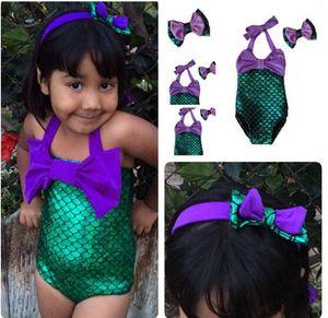 HOT Lovely Girl Kids Swimmable Mermaid Tail Swimwear Niños Bikini Traje de baño traje de baño Ropa de playa Baby Swimming Costume diadema