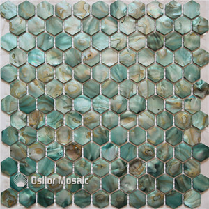 Boyalı yeşil renk 100% doğal Çin tatlısu kabuk annesi için inci mozaik çini kithenwashroom dekorasyon duvar karosu altıgen tarzı