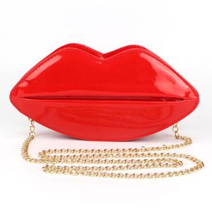 도매 독특한 PU 가죽 여성 핸드백 메신저 가방 저녁 가방 레드 입술 모양의 여성 핸드백 지갑 레이디 클러치 체인 Shouder 가방