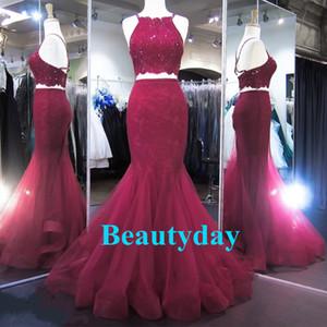 Celebridade Red Carpet Evening Prom Dresses 2019 Sexy Backless Borgonha Lace Tulle Sereia Dois Peças Árabes Ocasião Formal Vestidos Menina Negra