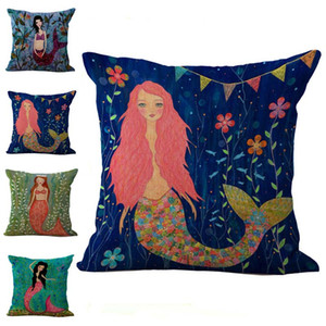 Sexy Mermaid Pillow Case Fodera per Cuscino in lino Cotone Federe Federe Cuscino Copripiumino Home Drop shipping