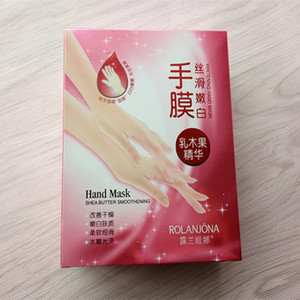 retail 10pcs ROLANJONA whitenging hand mask shea butter smoothening Peeling RenewalRemove Dead Skin Smooth Exfoliating Moisturizing Gloves