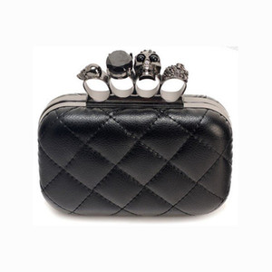 Wholesale-Fashion Woman Leather Evening Clutch Hand Bags Creepy Skull Rings Handbag Halloween Party Chain Shoulder Bag Plaid Purse XA219H