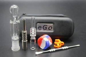 NC 3.0 avec étui en cuir Conseils à quartz 10mm 14mm GR2 Nails Domeless TI Tip Tip Silicone Jar Bécher BONG MINI TUYAUX D'EAU EN VERRE