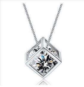 925 серебро любовь куб ожерелье восемь стрел восемь сердце действительно Циркон камень короткие цепи ключицы цепи цепь