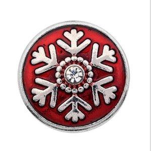 50 PCS Christmas Snap Button Jewelry Copo de nieve 18MM botones a presión Encantos para DIY Snap Jewelry Bracelet