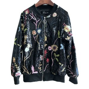 Roupa de qualidade Arte Pesada Bordado Flores Lantejoulas Jaqueta de Beisebol Casaco Floral Outerwear para As Mulheres
