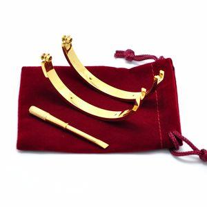 Mit Diamanten Titanium Stahl Liebe Armband Großhandel Gravierte Logo Marke Oval Schraubendreher Armband Für Frauen Männer Hochzeit mit rotem Staubbeutel