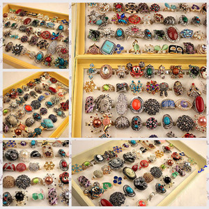 1000 Styles Top Quality Mix Group of European and American Style Gem Diamond Exaggerated Alloy Rings Wholesale