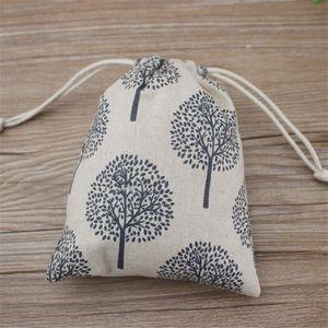 Happy Tree Pochette Cadeau Bijoux en Lin Imprimé 9x12cm 10x15cm 13x17cm Pack de 50 Bonbons Fête Favor Sac Jute Cordon Sac